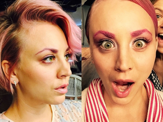 Kaley Cuoco with pink eyebrows in Instagram photos