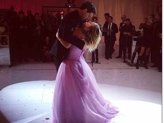 Kaley Cuoco wearing a pink Vera Wang gown at her and Ryan Sweeting's wedding