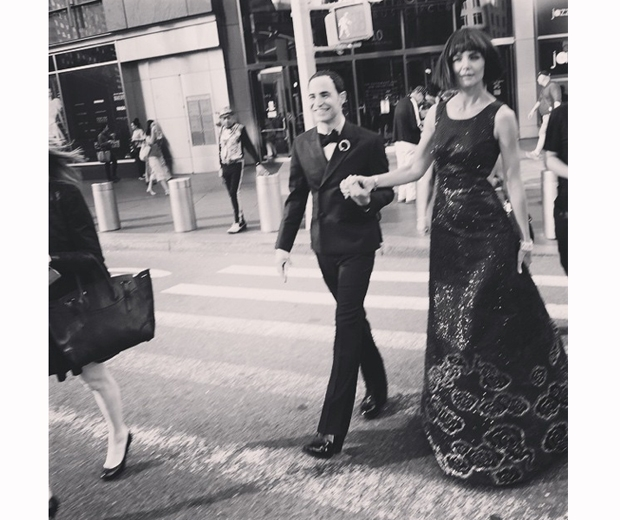Katie Holmes and her dress designer Zac Posen arriving at the Met Gala 2015