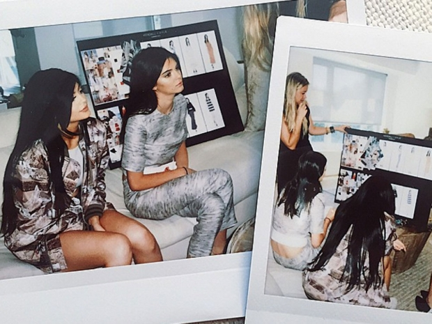 Kendall Jenner and Kylie Jenner looking at designs in Instagram montage