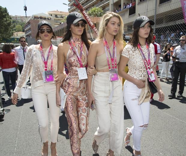 Kendall Jenner, Gigi Hadid, Bella Hadid and Hailey Baldwin at Monaco Grand prix