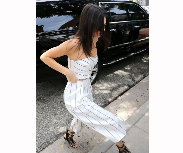 kendall jenner in white stripe culottes and crop top from keepsake