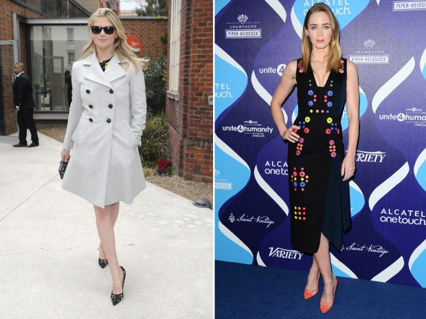 Kate Upton wearing Kurt Geiger and Emily Blunt wearing KG's Britton shoes