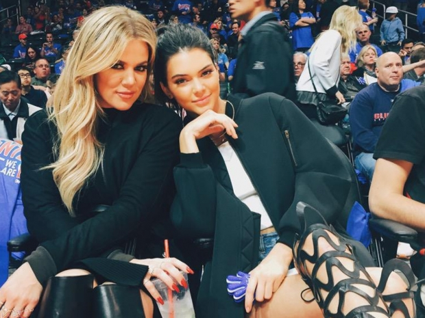 Khloe Kardashian and Kendall Jenner at the Staples Center in LA