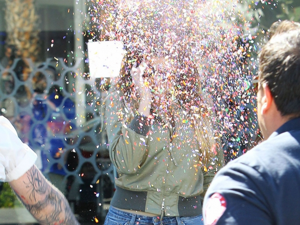 Khloe Kardashian after being covered in confetti