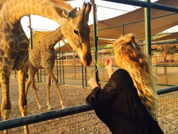 Khloe Kardashian shows off her long hair in Dubai