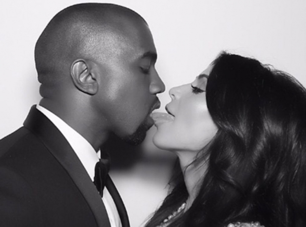 Kim and Kanye kiss on Instagram