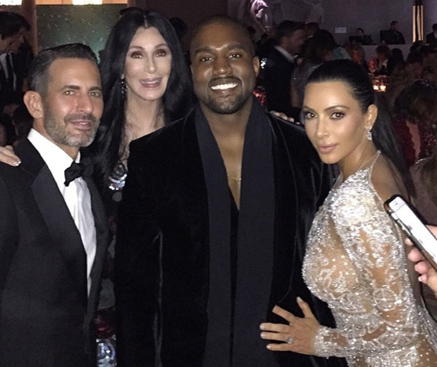 Kim Kardashian, Kanye West and Cher backstage at the Met Gala