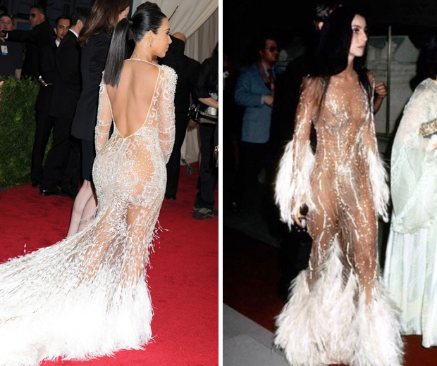kim kardashian copies cher's met gala dress at the 2015 event