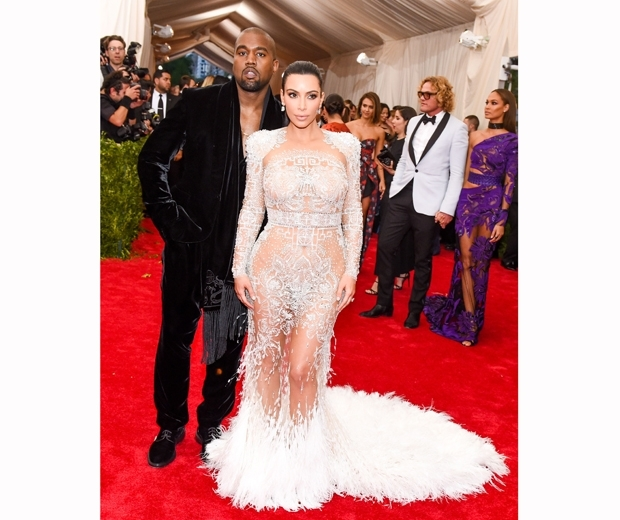 Kim Kardashian and Kanye West at the Met Gala 2015