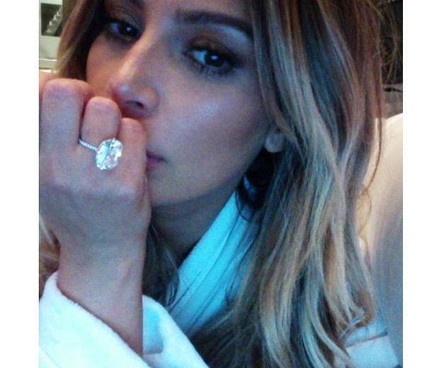 kim kardashian shows off engagement ring on instagram