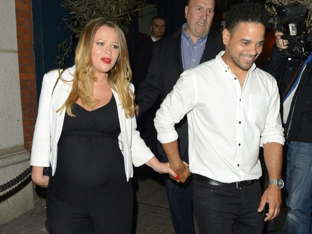 Kimberley Walsh shows off her baby bump while out with Justin Scott