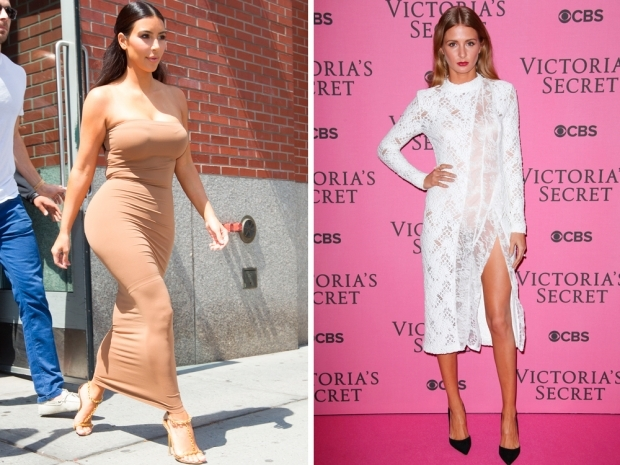 Kim Kardashian and Millie Mackintosh both wearing spanx