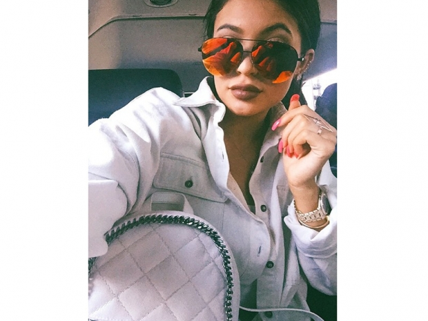 Kylie Jenner in an all-white outfit on Instagram