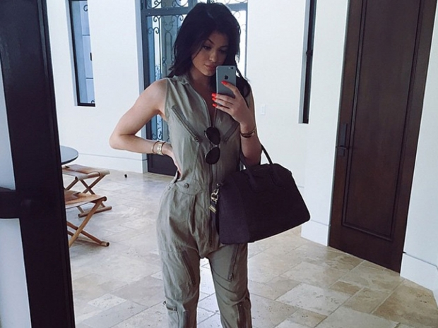 Kylie Jenner posing for a mirror selfie on Instagram