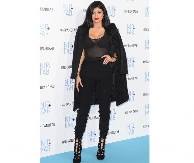 kylie jenner in black mesh top at nip and fab event