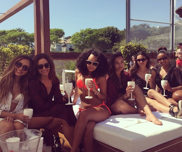 little mix at SINTILLATE Champagne Spray Party at Ocean Club in marbella