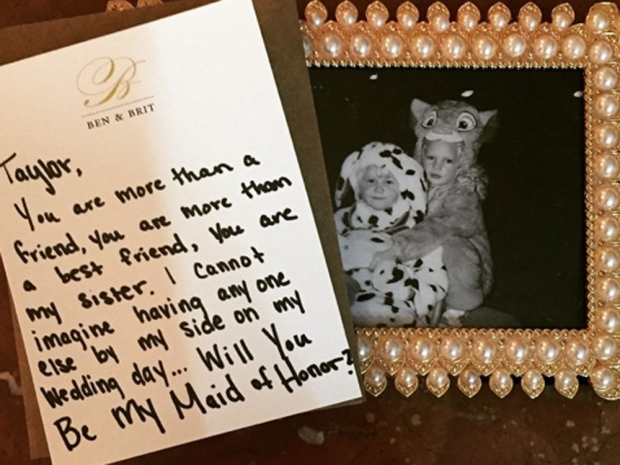 Taylor Swift's note from Britany Maack asking her to be her maid of honour