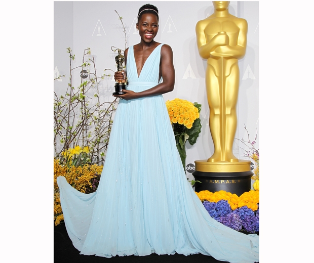 Lupita Nyong'o in her powder blue Prada dress at the 2014 Oscars