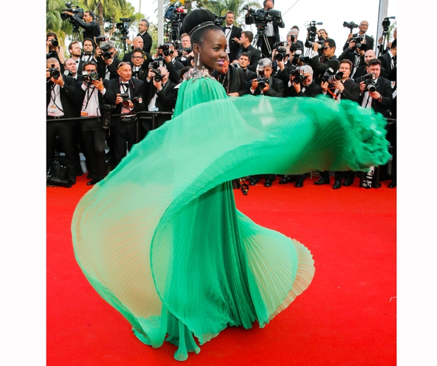 Lupita Nyong'o in green gucci dress at cannes opening festival