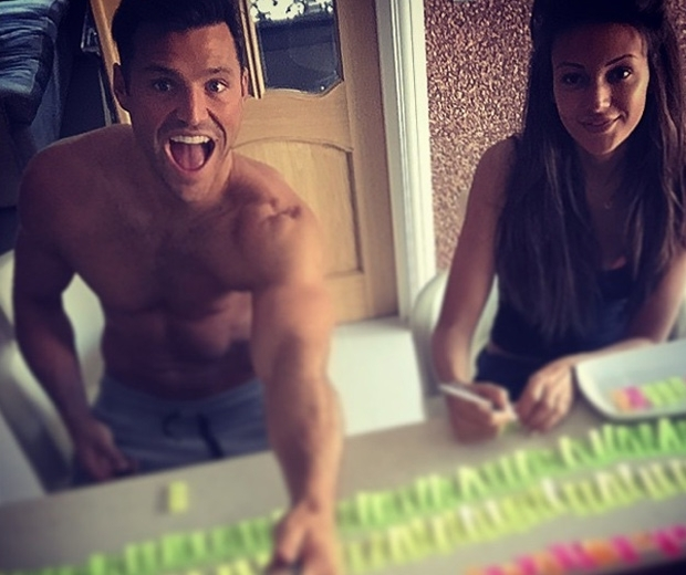 Michelle Keegan and Mark Wright arranging their table plan in Instagram photo