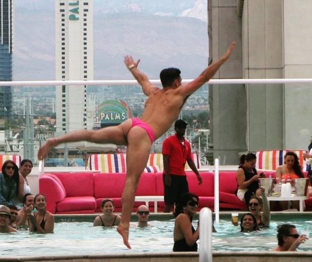 Mark Wright in pink trunks on stag do antics in Vegas on Instagram
