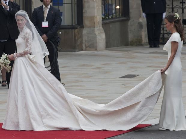 The Duchess of Cambridge wearing her Alexander McQueen wedding dress