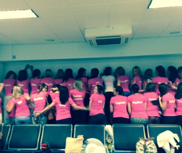 Michelle Keegan and her hens wear matching pink t-shirts