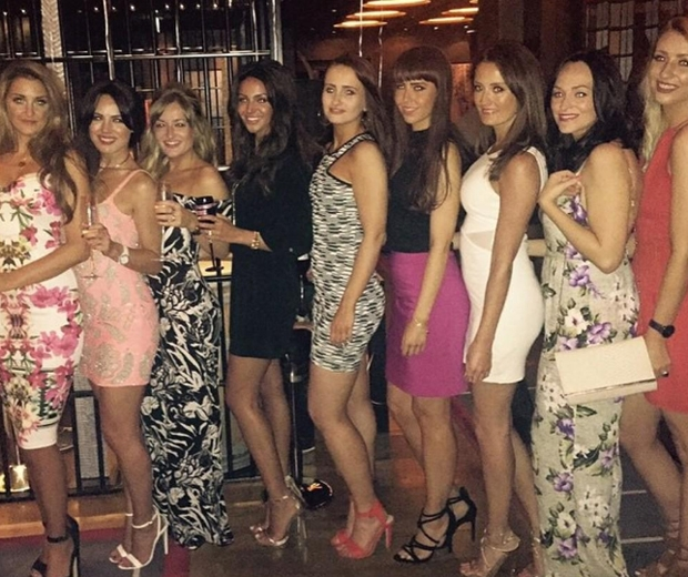 michelle keegan on hen party in dubai in black dress