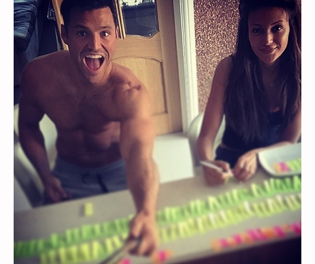 michelle keegan and mark wright writing table plan for wedding