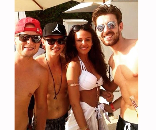Michelle Keegan posing with fans on her hen do in Dubai