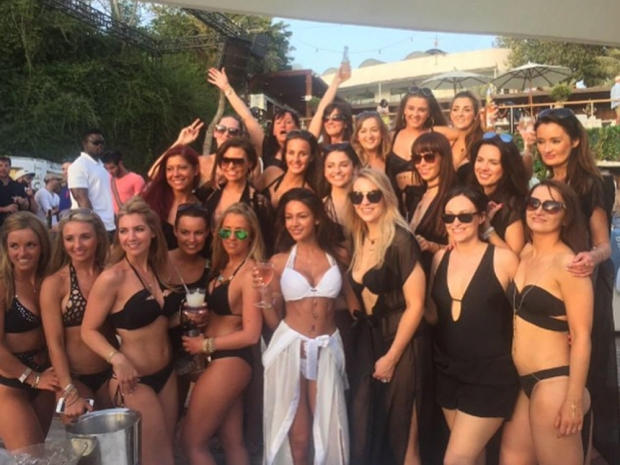 Michelle Keegan with loved ones on her hen do in Dubai