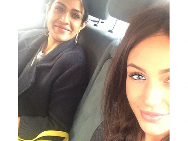 Michelle Keegan with grey eyes in Instagram photo