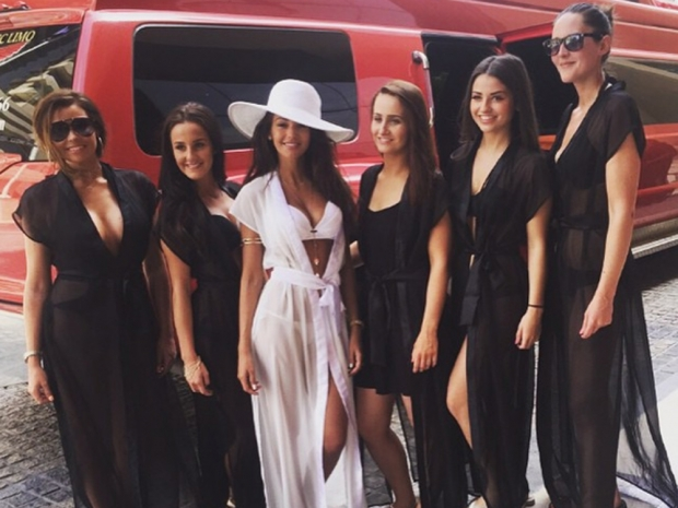 Michelle Keegan with friends on her hen do in Dubai