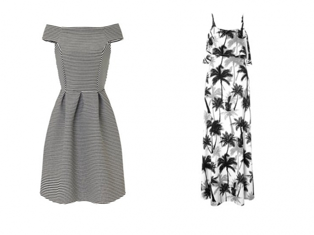 A nautical dress (L) and maxi (R) from Michelle Keegan's Lipsy range