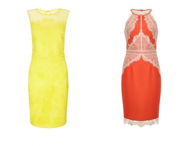 A neon dress (L) and lace detail dress (R) from Michelle Keegan's Lipsy range