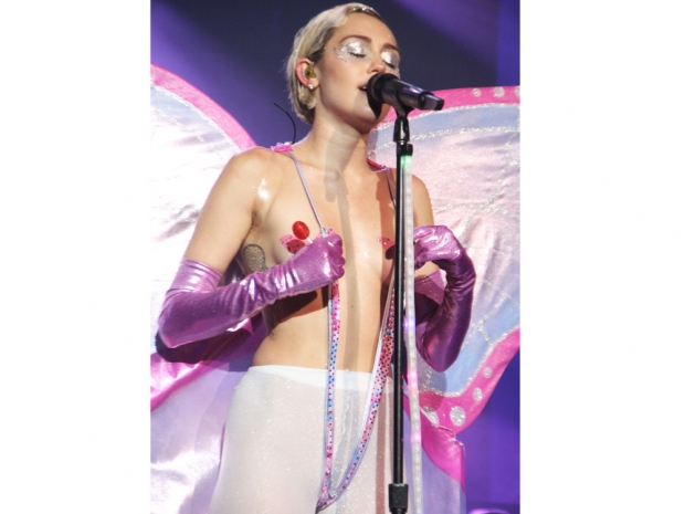 Miley Cyrus performing in New York