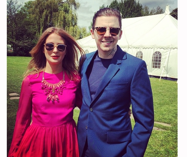 Millie Mackintosh and Professor Green looking stylish at a pal's wedding