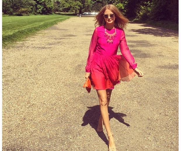 millie mackintosh in pink ombre Matthew Williamson dress at friend's wedding