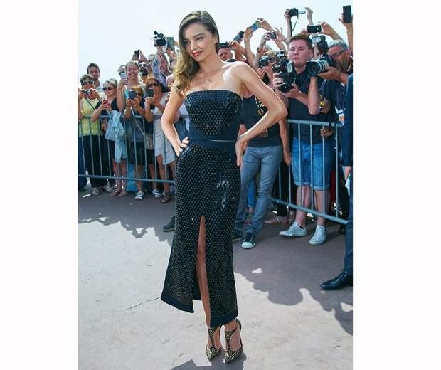 Miranda Kerr wore a racy David Koma two piece earlier in the day at Cannes