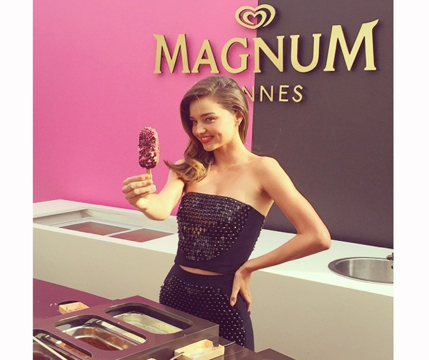 Miranda Kerr trying her hand at ice cream making at the Magnum stand in Cannes