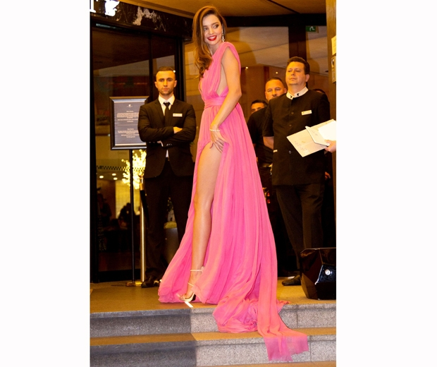 Miranda Kerr stunned in her hot pink Emanuel Ungaro dress at the Magnum party in