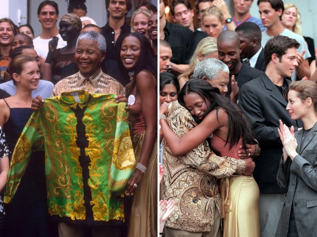 Naomi Campbell with Nelson Mandela