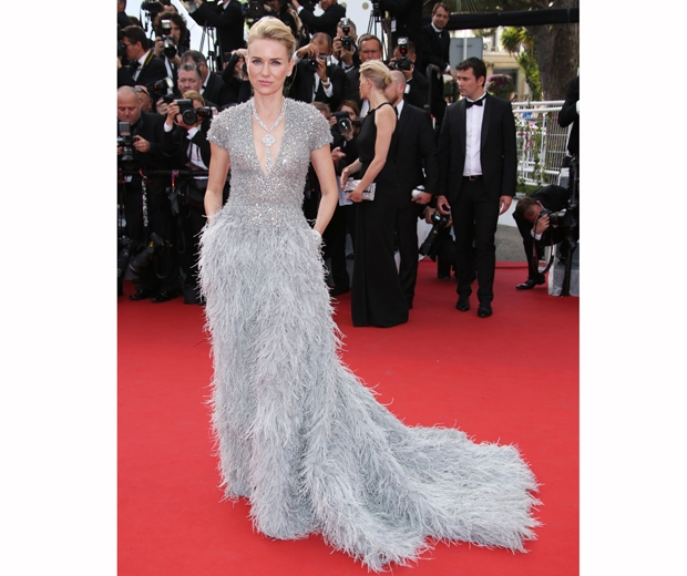 naomi watts in grey feathered Ellie Saab gown at Cannes Film Festival