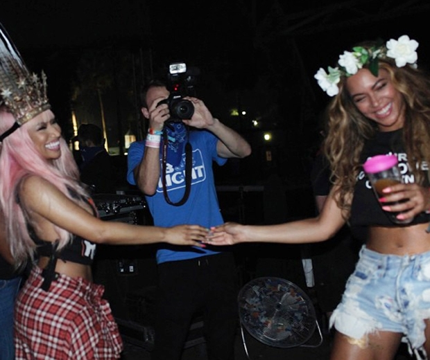 Beyonce and Nicki Minaj's new Feelin' Myself video was filming during Coachella