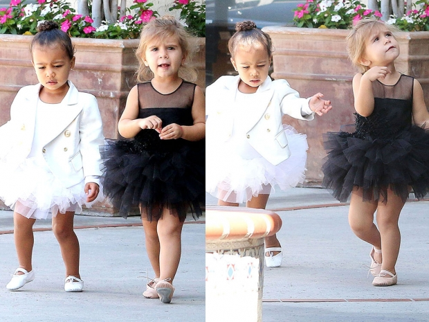 North West and Penelope Disick show off their dance moves