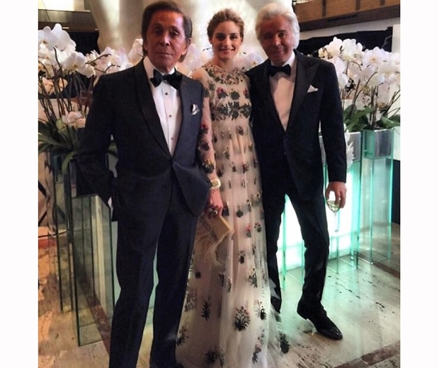 Olivia Palermo with Valentino and Giancarlo Giammetti at new york ballet