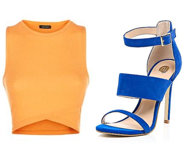 new look orange crop top and river island blue sandals