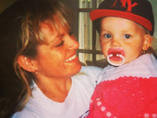 Perrie Edwards in childhood photo with her mum