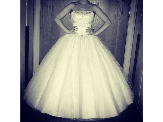 Perrie Edwards wearing her prom dress in Instagram photo